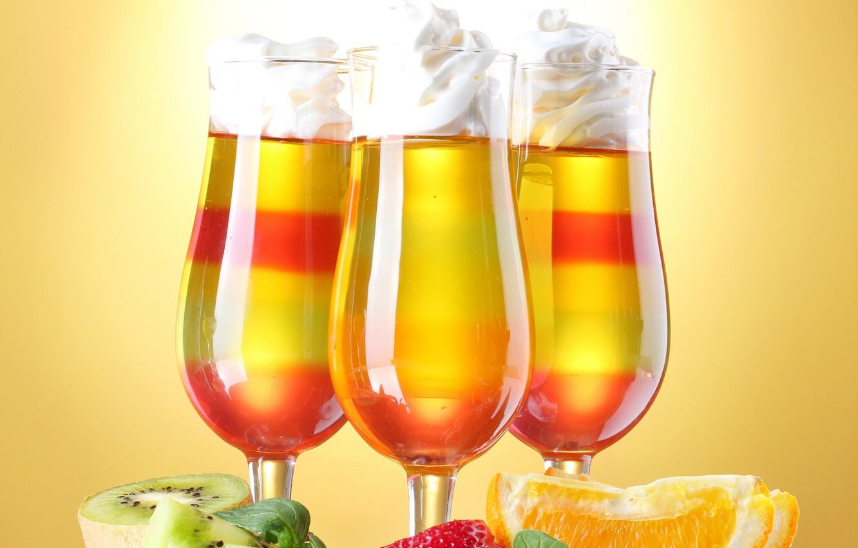 Photo wallpaper orange, kiwi, glasses, strawberry, fruit, cocktails