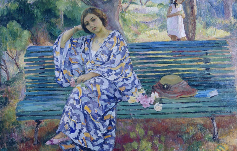 Photo wallpaper girl, Park, picture, garden, bench, genre, Henri Lebacq, Young Woman Seated on a Bench