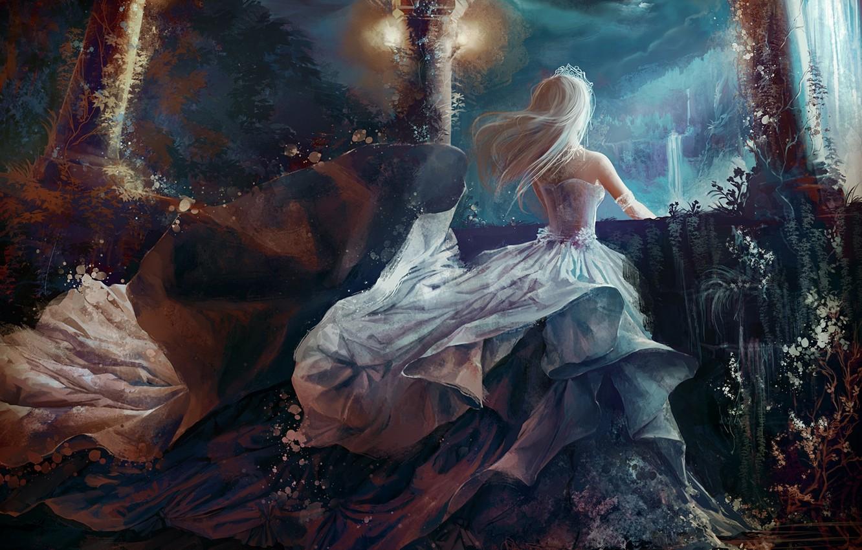 Photo wallpaper girl, waterfall, anime, art, Princess, tiara, jennyeight
