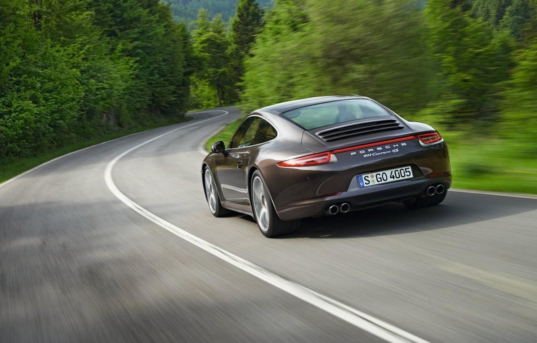 Photo wallpaper road, nature, Porsche