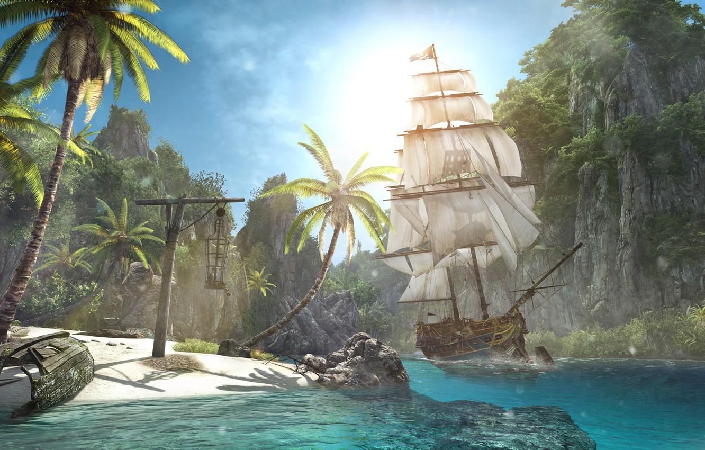 Wallpaper Beach Shore Ship Island Assassin S Creed Iv Black