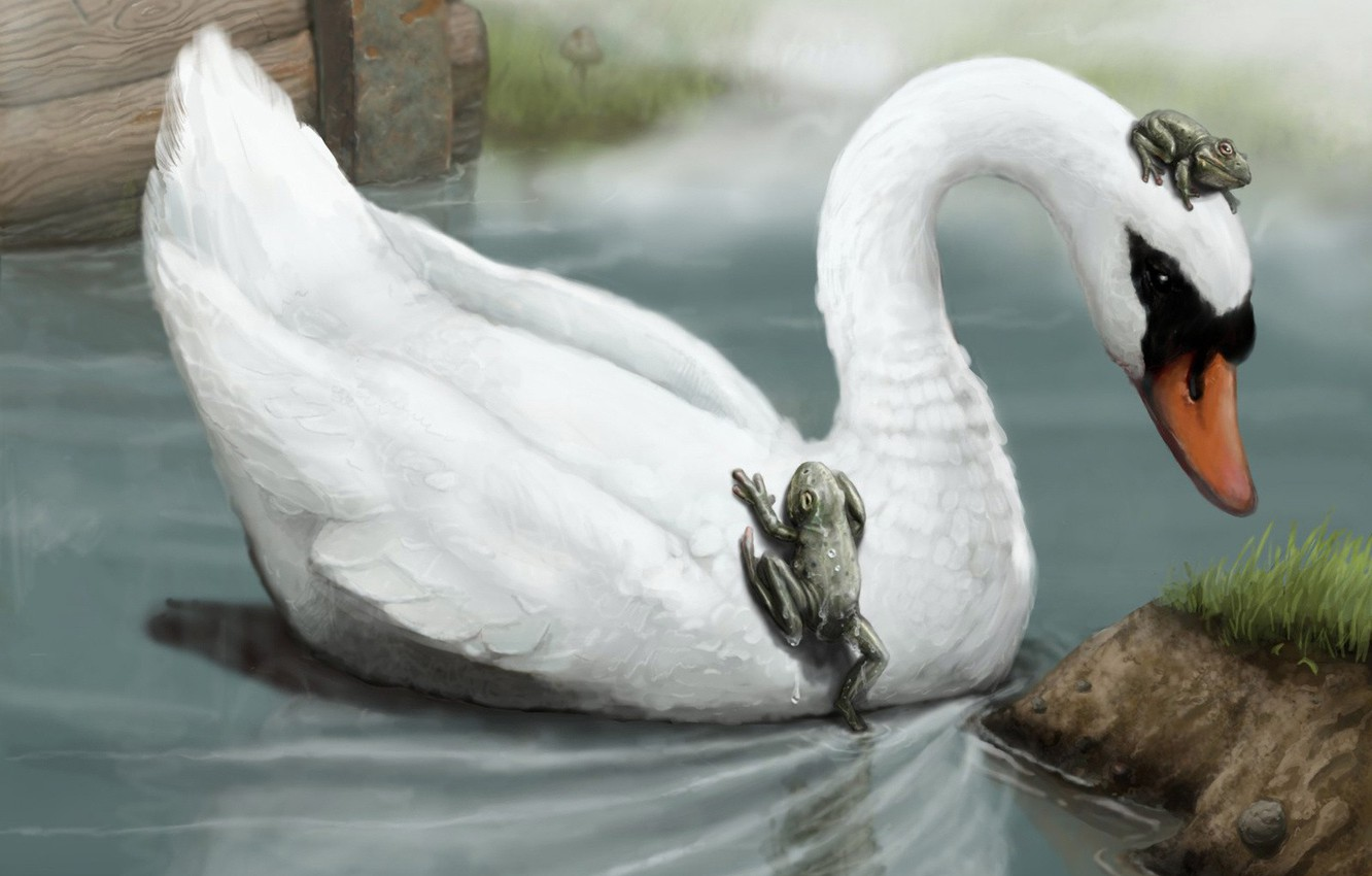 Photo wallpaper figure, Swan, frogs