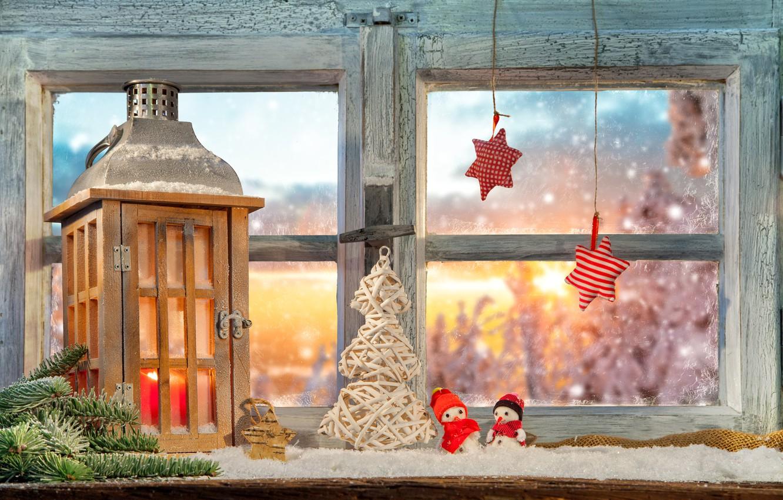 Photo wallpaper window, lantern, stars, herringbone, decoration
