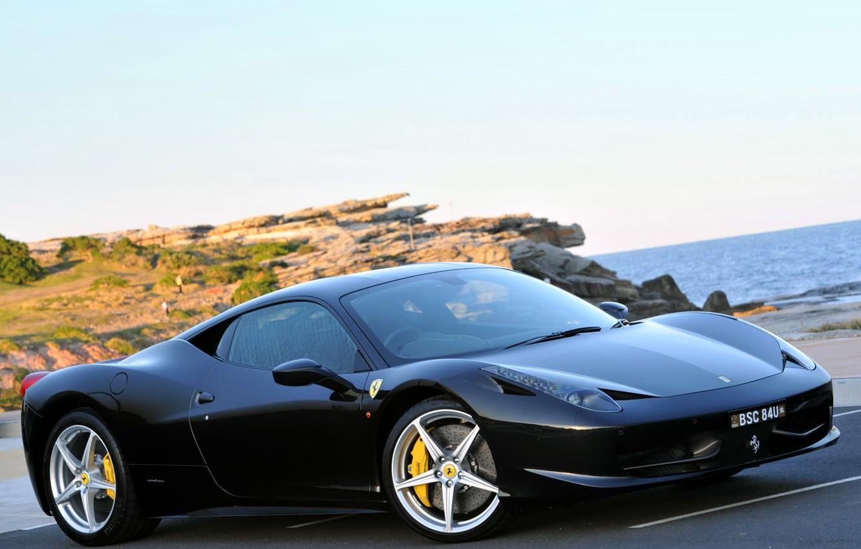 Photo wallpaper sea, black, Ferrari, ferrari 458 italia, 458 Italia