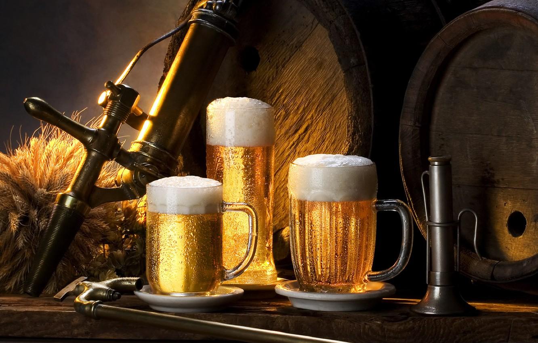 Photo wallpaper foam, Beer, barrels