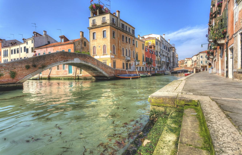 Photo wallpaper home, boats, Italy, Venice, channel, bridges, street