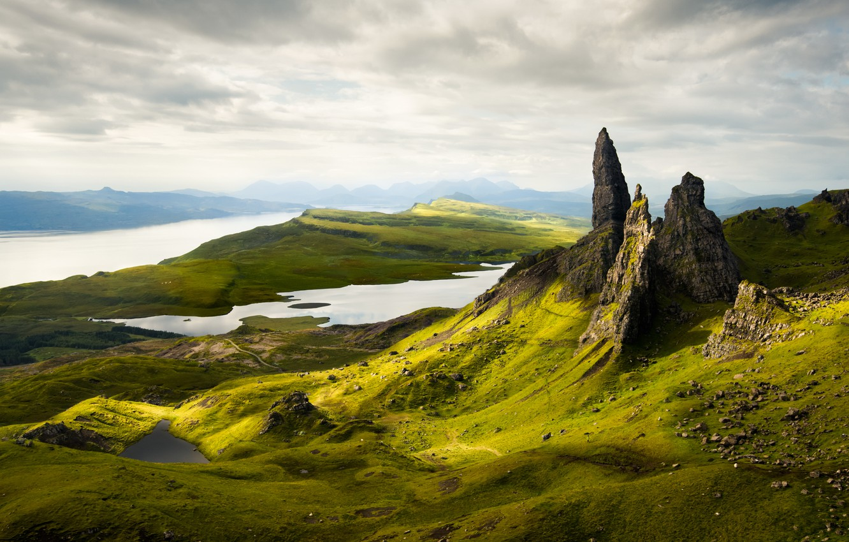 Photo wallpaper mountains, morning, scotland, Old Man of Storr