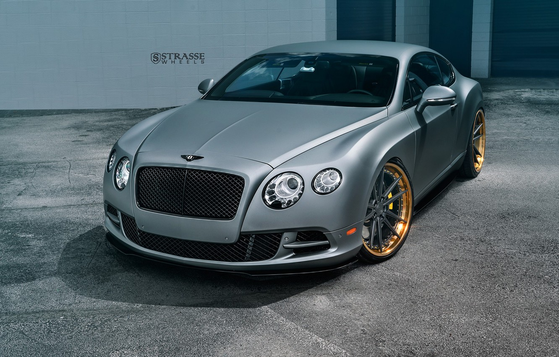 Photo wallpaper Bentley, Continental, Speed, Matte, Gray, Wheels, Strasse