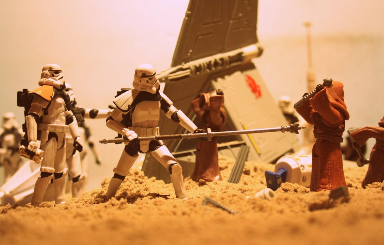 Photo wallpaper sand, Star Wars, spaceship, R2-D2, blasters, Jawas, Sandtrooper