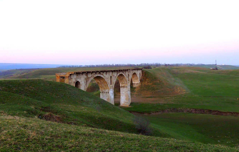 Photo wallpaper the sky, mountains, bridge, nature, railroad, old, abandoned, Krasnodar Krai, military bridge, istroriya