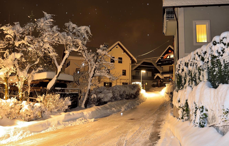 Photo wallpaper winter, snow, street, Winter, Slovenia, Slovenia