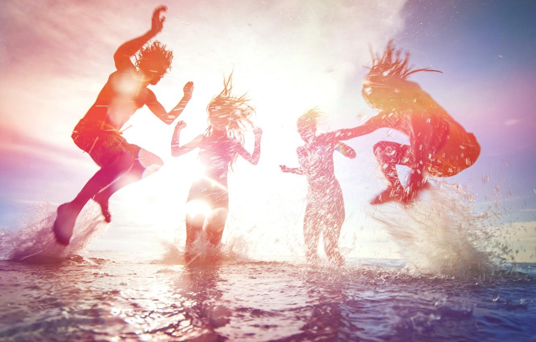 Photo wallpaper sea, beach, summer, the sky, foam, water, the sun, light, joy, squirt, people, girls, the …