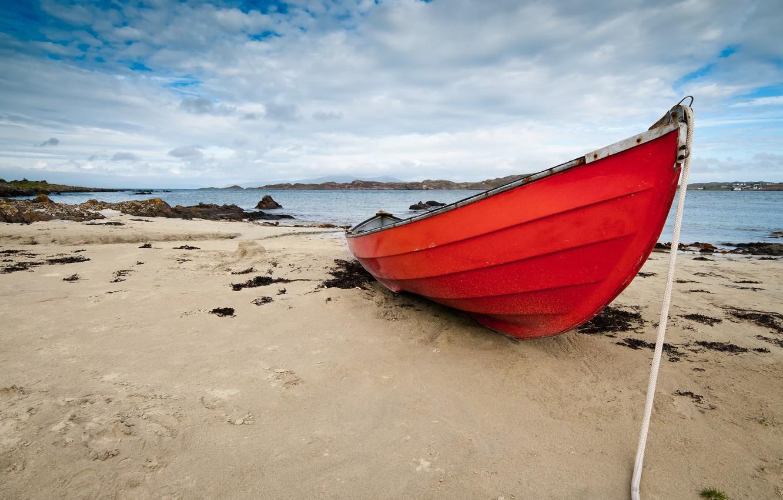 Photo wallpaper sand, clouds, shore, boat