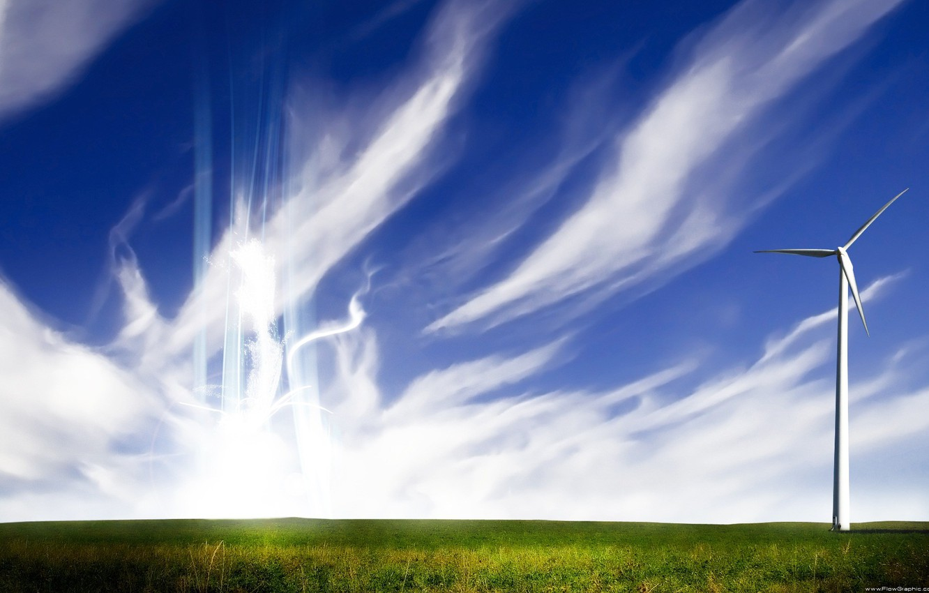 Photo wallpaper field, the sky, energy, style, the wind, Cirrus clouds