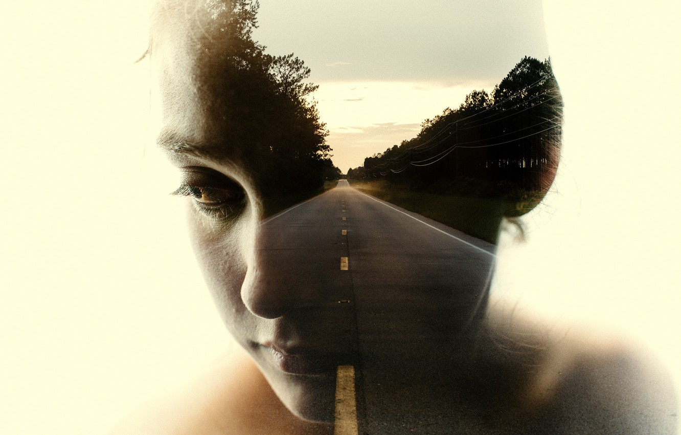 Photo wallpaper road, girl, abstraction