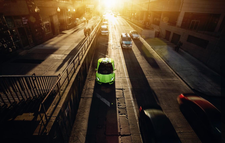Photo wallpaper Roadster, Lamborghini, City, Chicago, Green, Sunset, Downtown, LP700-4, Aventador, Supercar