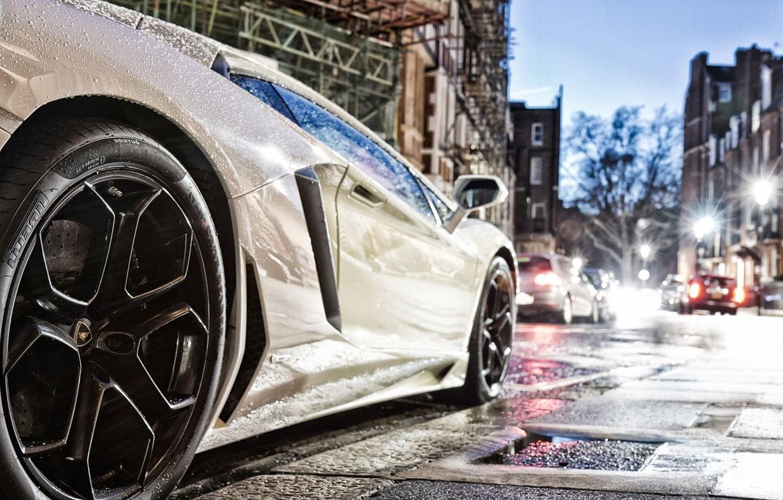Photo wallpaper auto, white, night, the city, tires, lamborghini, drives, pirelli