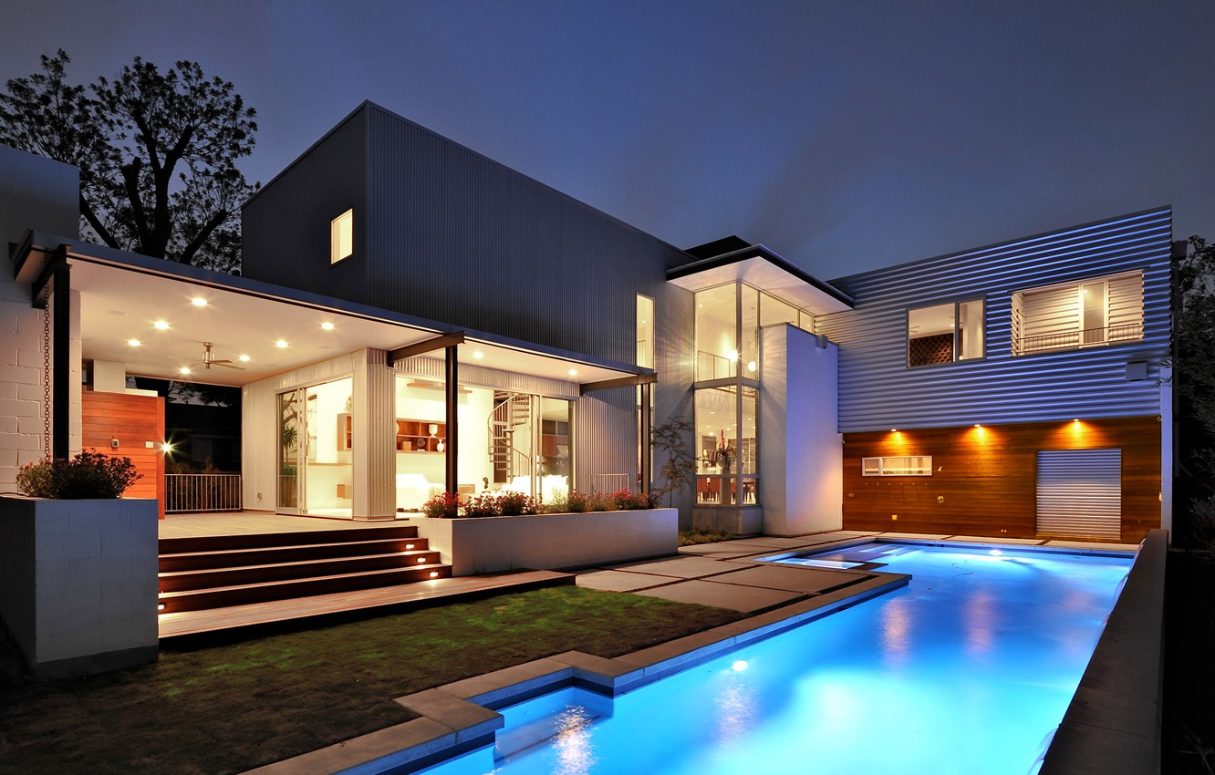 Photo wallpaper house, style, house, pool, home, modern, exterior, pool., exterior