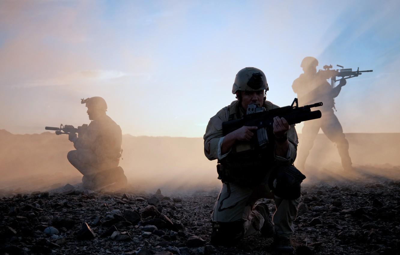 Photo wallpaper gun, soldiers, us army
