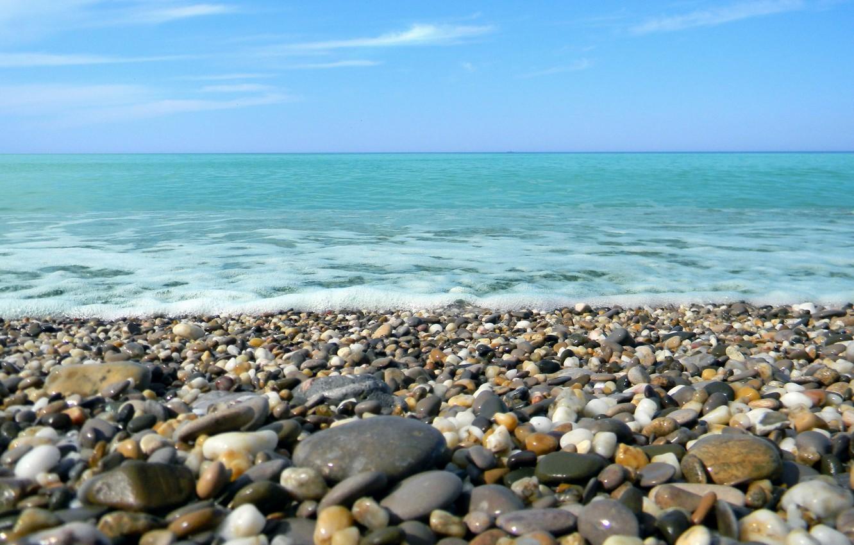 Photo wallpaper sea, foam, pebbles, stones, shore, calm