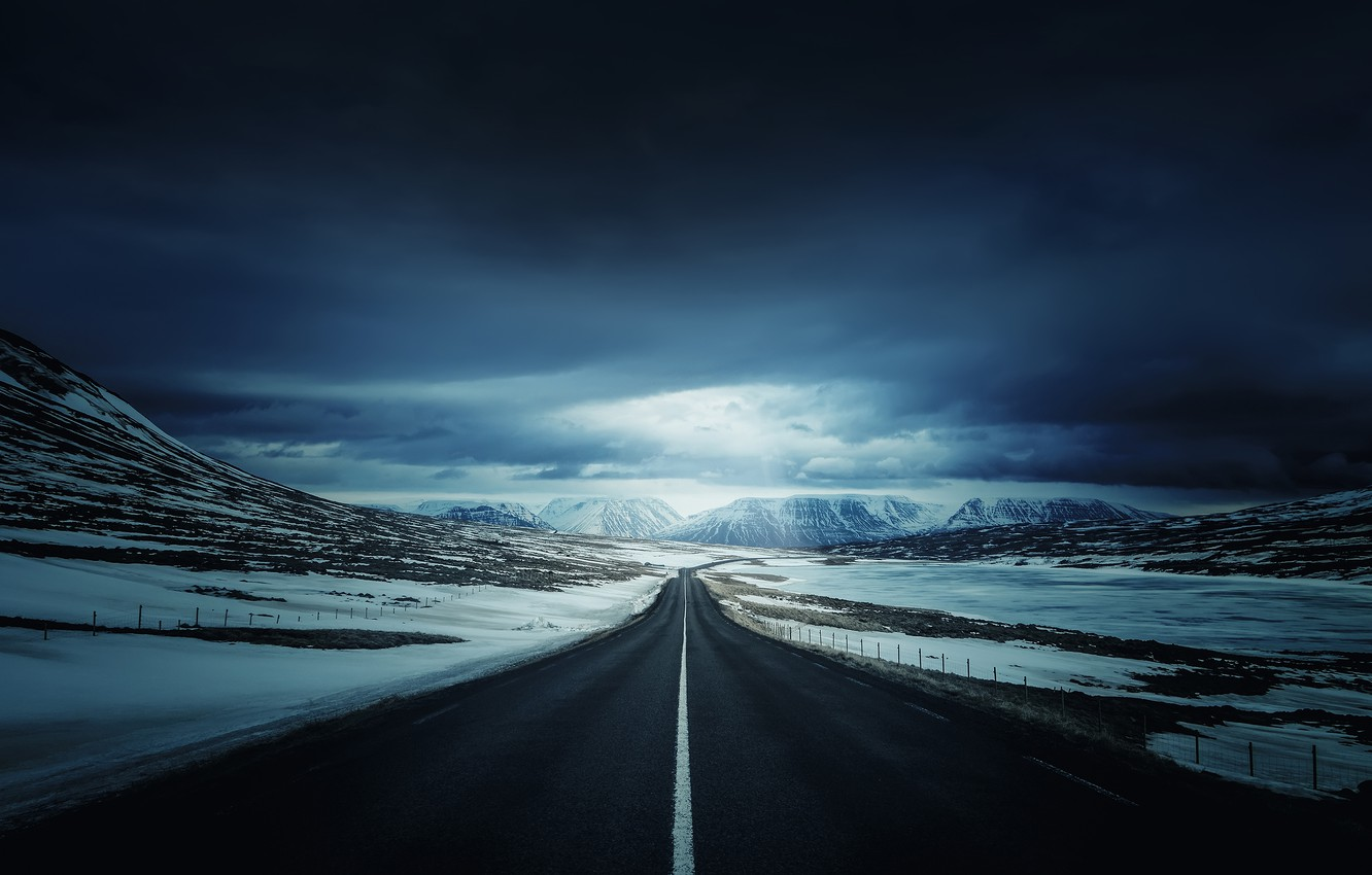 Photo wallpaper road, snow, mountains, nature, Iceland's Ring Road