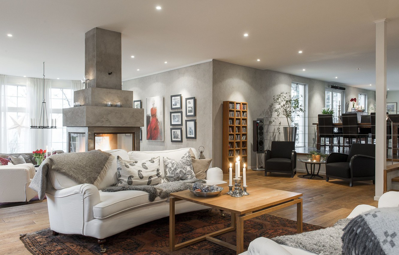 Photo wallpaper design, style, interior, fireplace, living space