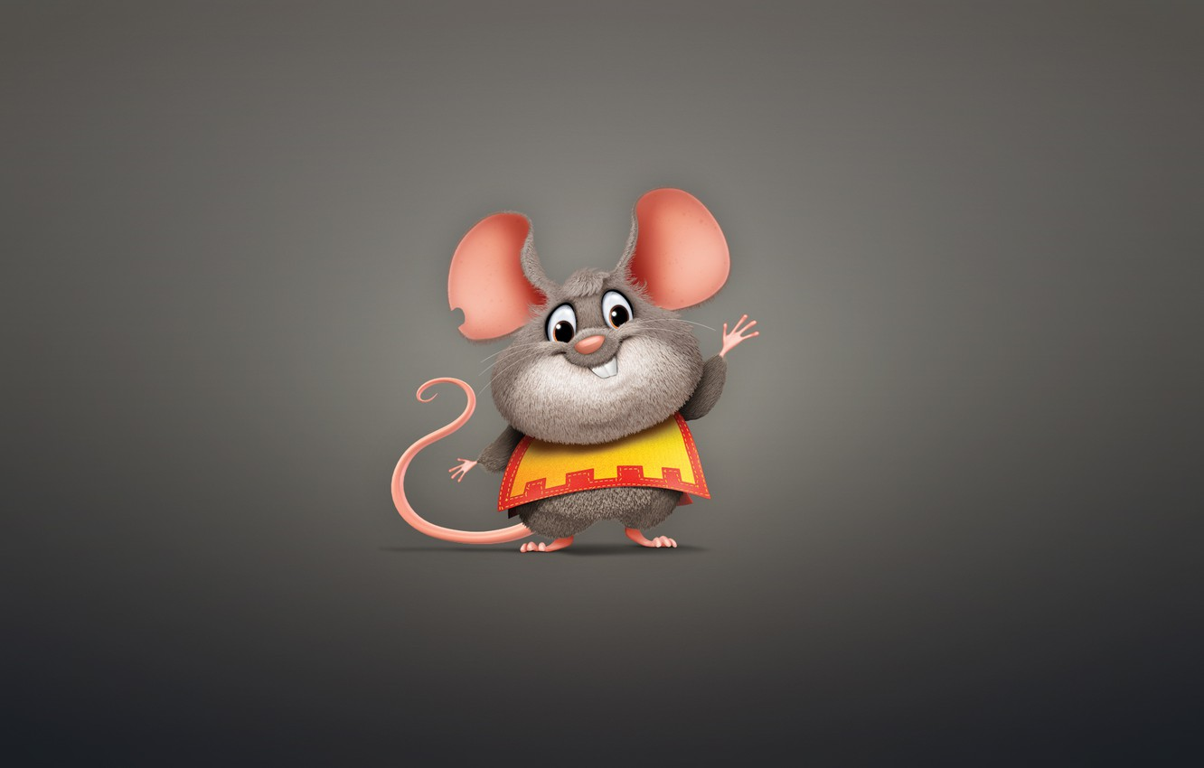 Photo wallpaper animal, minimalism, mouse, rodent, mouse, chubby
