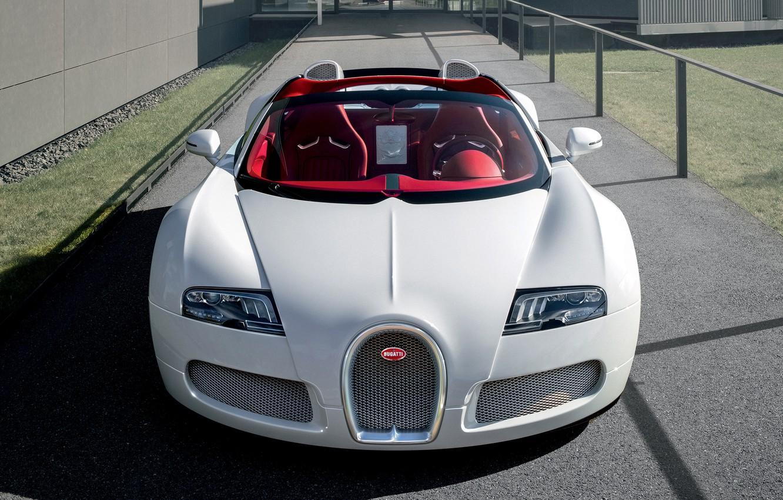 Photo wallpaper lights, white, Bugatti Veyron, the front, roadster, hypercar, Grand Sport, Wei Long