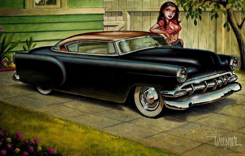 Photo wallpaper girl, flowers, figure, Chevrolet, Chevrolet, Classic, Street Rod