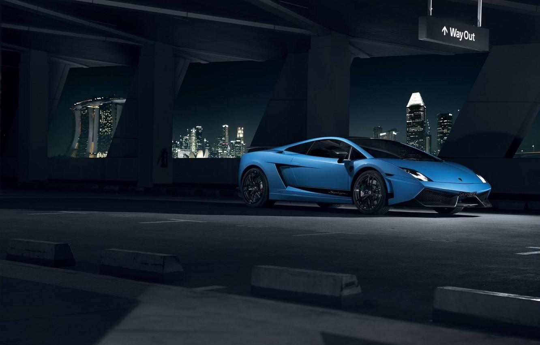Photo wallpaper Lamborghini, City, Superleggera, Gallardo, Blue, Front, LP570-4, Supercar, Ligth, Nigth