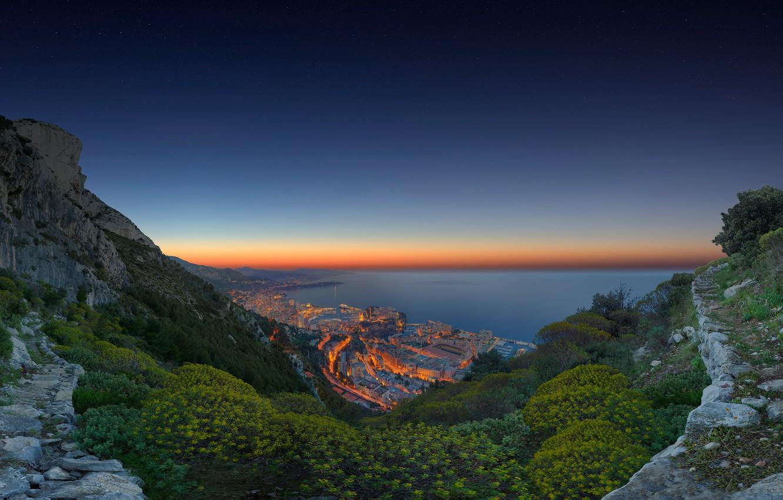 Photo wallpaper the ocean, coast, panorama, Monaco