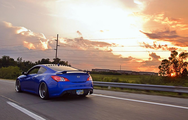 Photo wallpaper road, tuning, Hyundai, Coupe, blue, Genesis, Hyundai