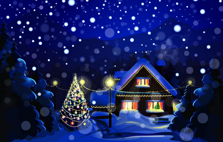 Wallpaper winter, snow, landscape, night, nature, holiday, tree
