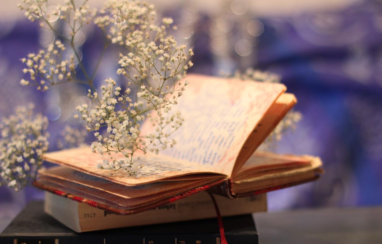 Photo wallpaper flowers, background, books