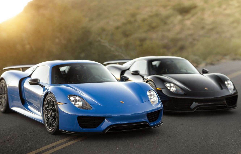 Photo wallpaper Porsche, Blue, Black, 918, &, Spyders