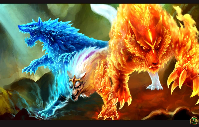 Photo wallpaper ice, fire, wolf, hon, Heroes of Newerth, Gemini