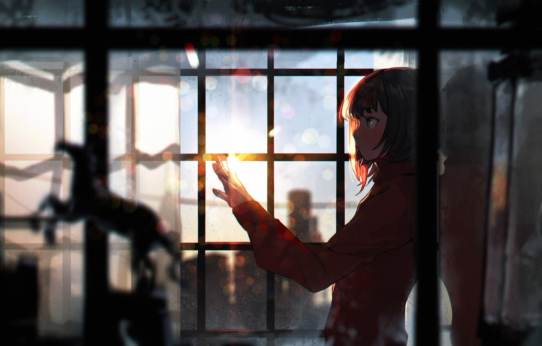 Photo wallpaper girl, sunset, anime, window, art, sumiobunnya