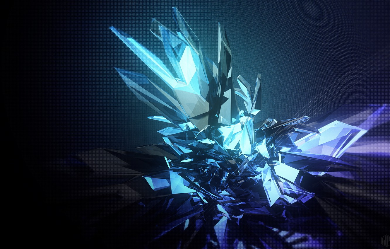 Photo wallpaper crystal, abstraction, faces, render, abstraction