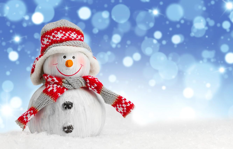 Photo wallpaper winter, snow, New Year, snowman, Christmas, winter, snow, Merry