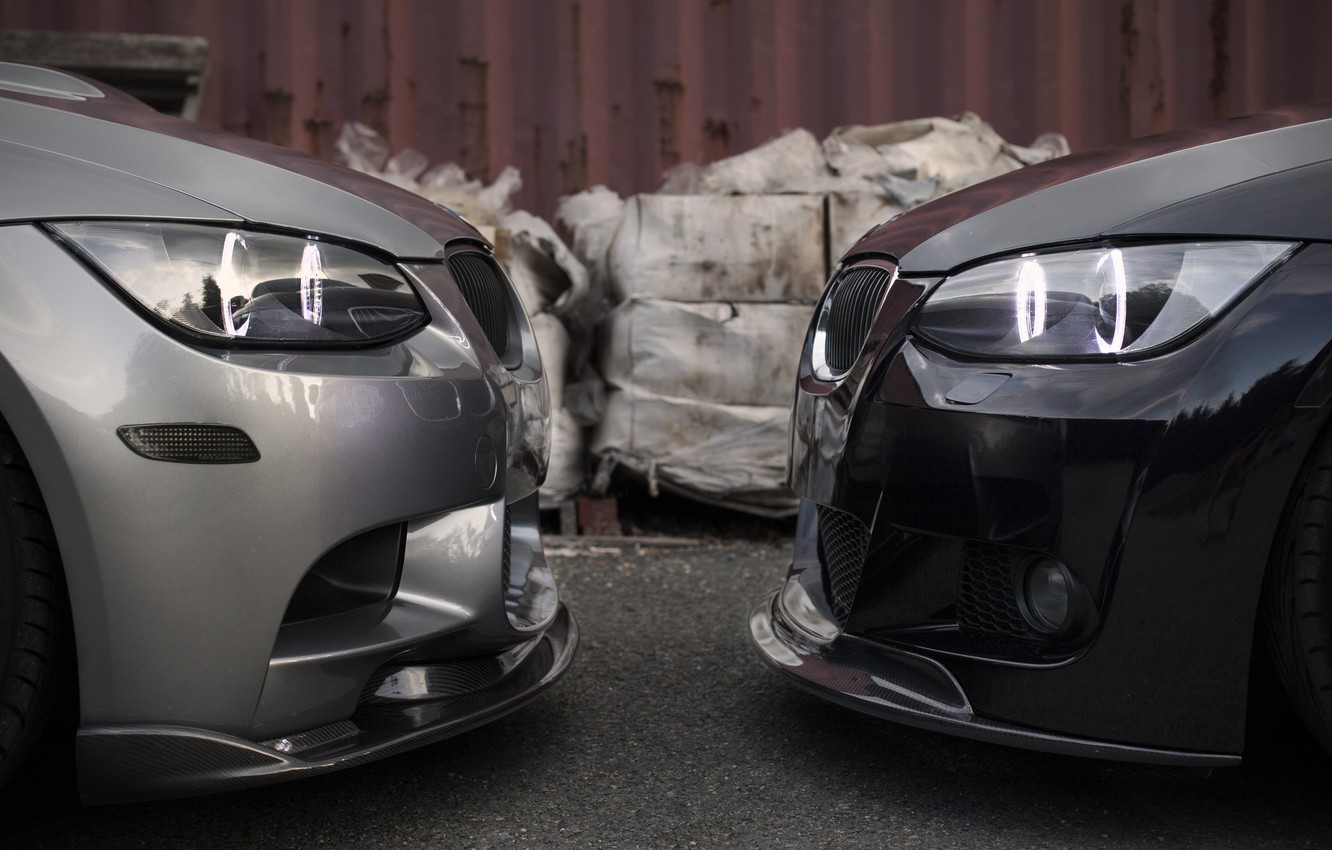 Photo wallpaper black, bmw, BMW, silver, black, the front, e92, silvery, face-to-face, daylight, face to face, 335xi