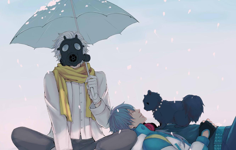 Photo wallpaper snow, umbrella, scarf, gas mask, guys, doggie, Clear, DRAMAtical Murder, Aoba