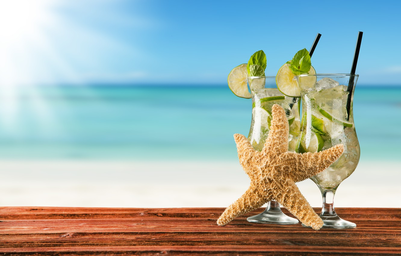 Photo wallpaper cocktail, summer, beach, fresh, sea, paradise, drink, mojito, cocktail, lime, Mojito, vacation, mint, tropical