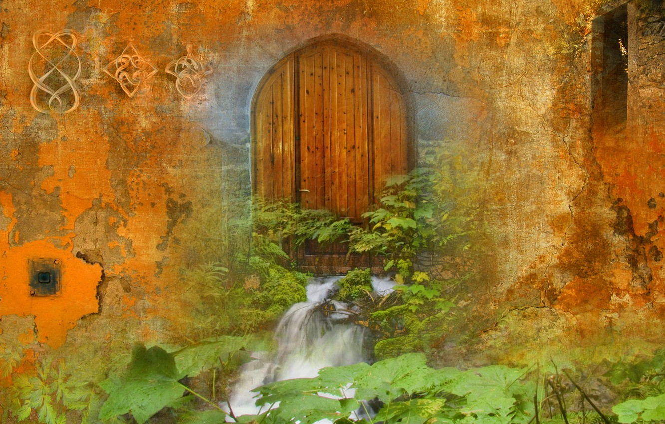 Photo wallpaper style, background, wall, the door