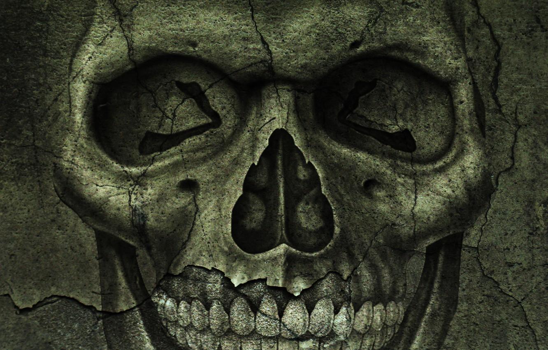 Photo wallpaper cracked, skull, texture