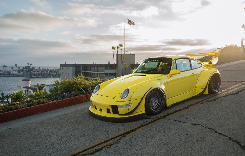 Photo wallpaper Porsche, Yellow, 964, Turbo, RWB