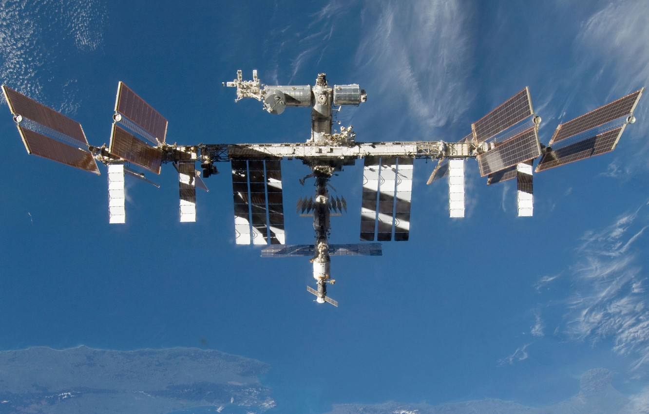 Photo wallpaper space, ISS, sky