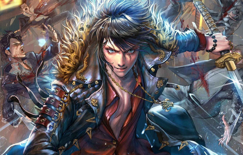 Photo wallpaper fantasy, anime, battle, art, guy