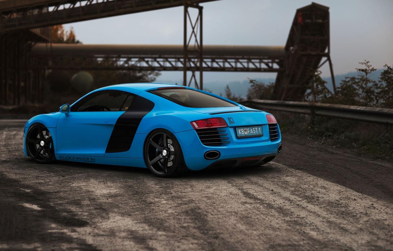 Photo wallpaper road, Audi, blue, Audi, rear view, blue, bump