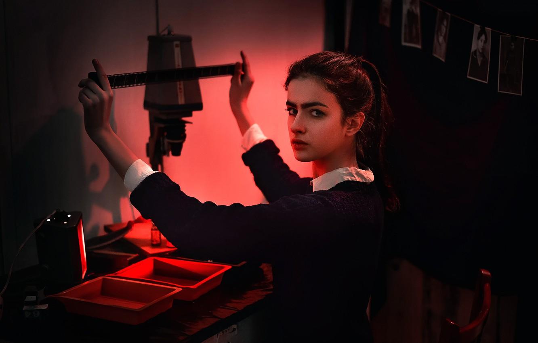 Photo wallpaper girl, film development, film, Dima Begma, enlarger, Photographer from the past