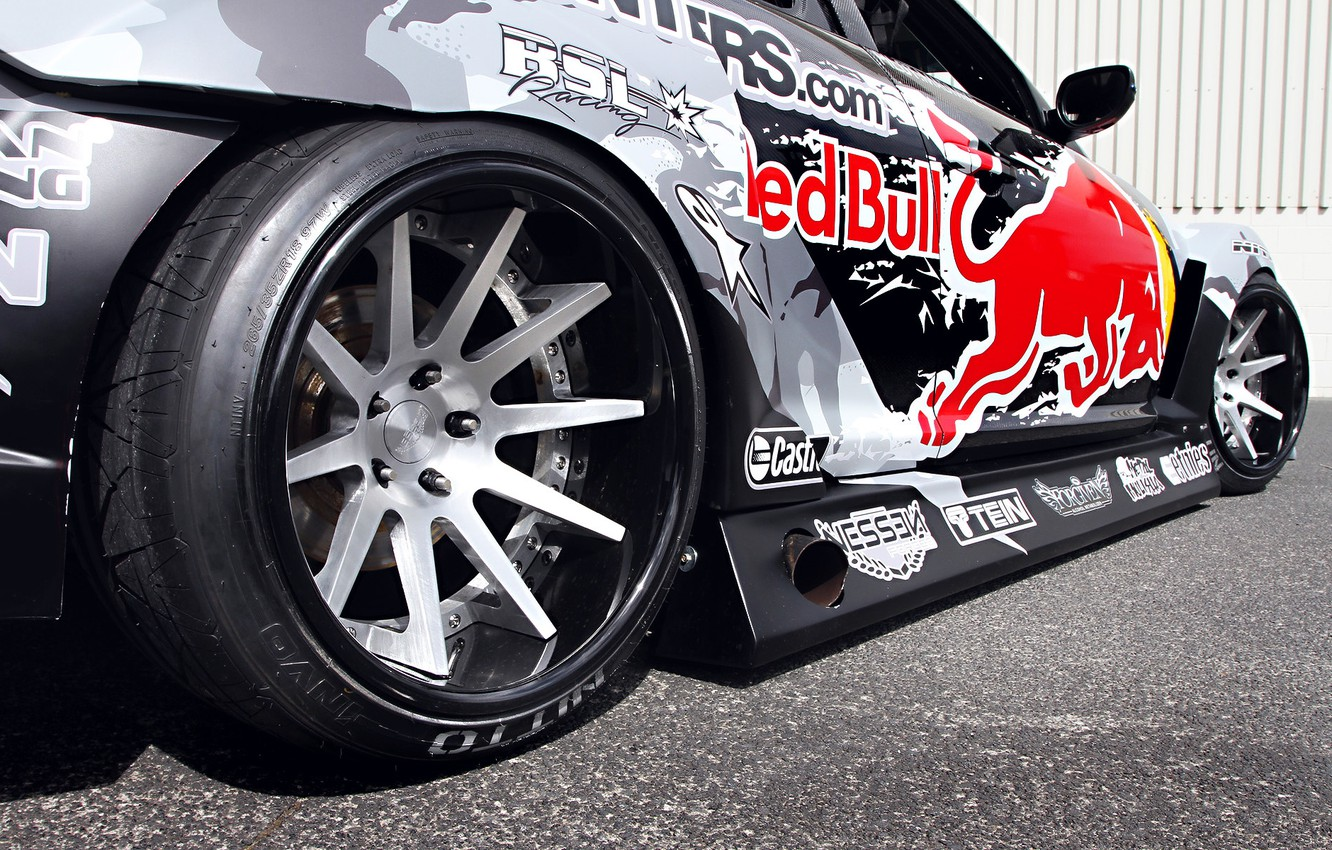 Photo wallpaper Mazda, Drift, Tuning, Team, RX-8, Competition, Wheels, Rims, Widebody, Sportcar, Spoiler, Red-Bull Racing, Exhaust